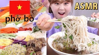 ASMR Mukbang|Eating Vietnamese rice noodles PHO and spring rolls with various fresh vegetables ^^*