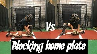 Blocking home plate baseball vs. softball