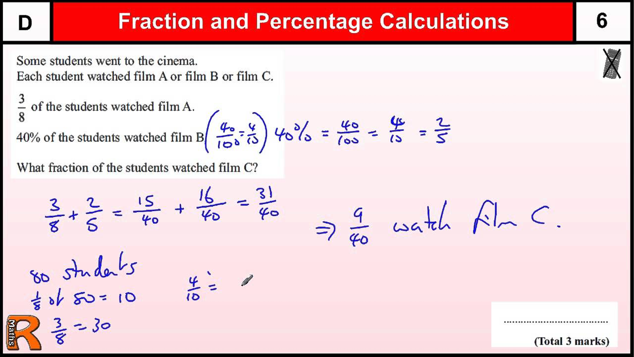 Worksheet Percentages Math fractions and percentages of amounts gcse maths foundation revision exam paper practice help
