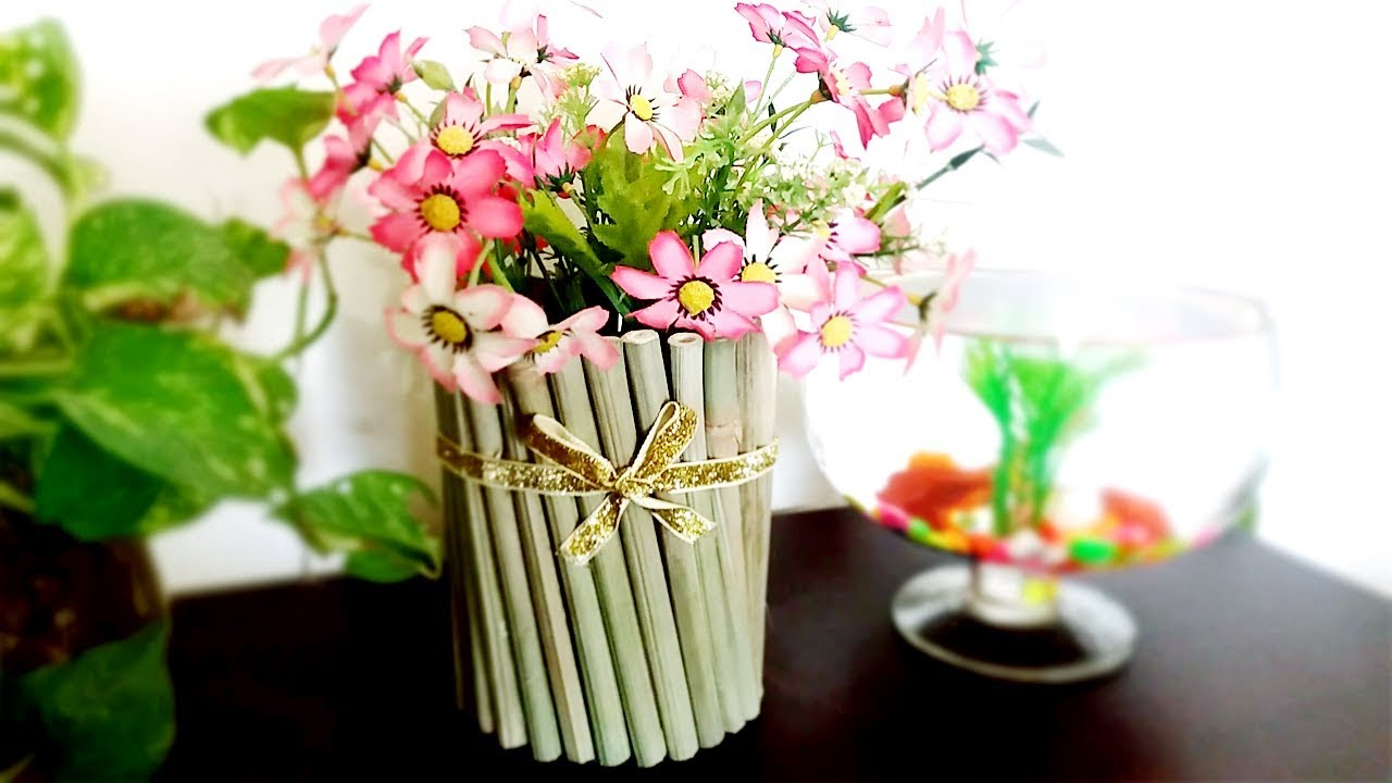 Best Out Of Waste Bamboo Flower Vase Diy Bamboo Flower Vase Art And Crafts Ideas Bamboo Crafts Youtube