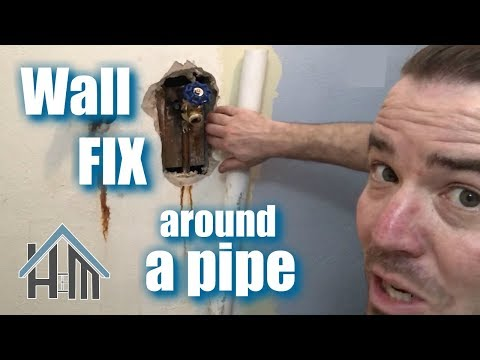 How to drywall around a pipe. Fix drywall around plumbing. Easy!