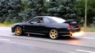 NISSAN Skyline GTR R33 testing launch control RB26DETT - exhaust flames -  balls of fury