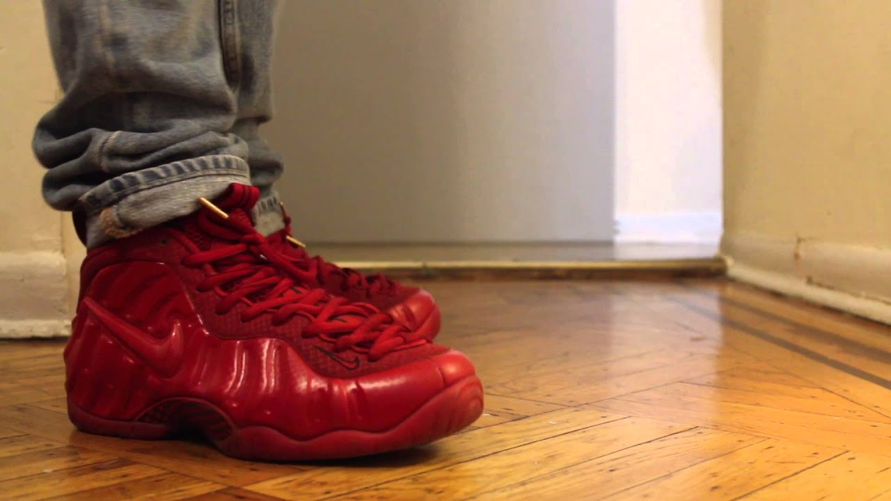 online store a217f a4cd8 ... sale nike gym red foamposites on feet 2af1b 2cb31 ...