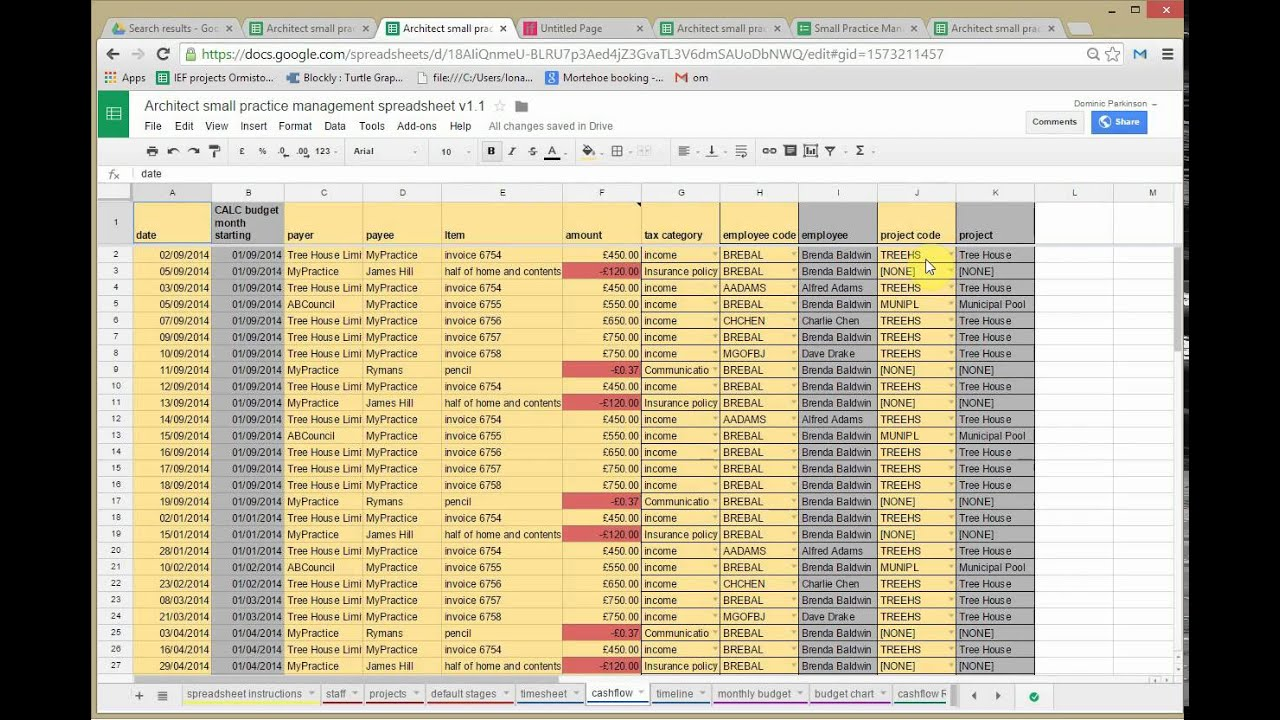 architect small practice management spreadsheet v1 2