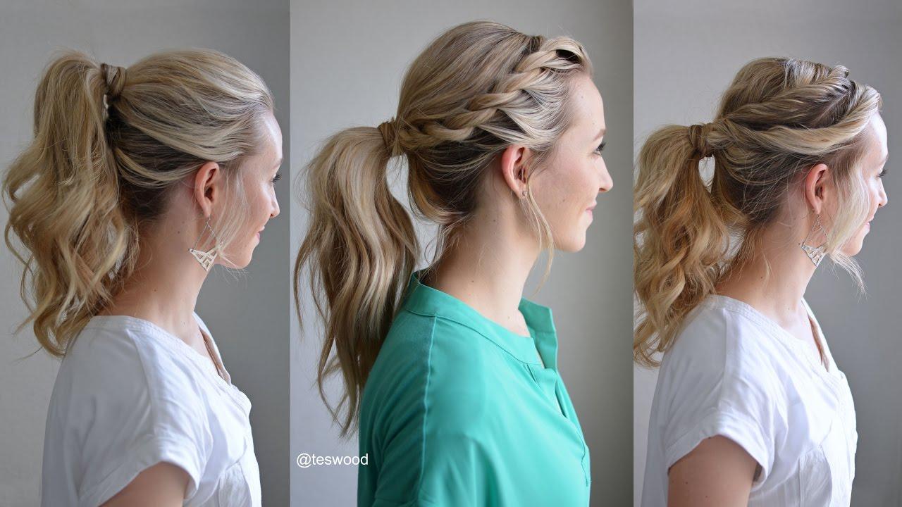 three simple fancy ponytails