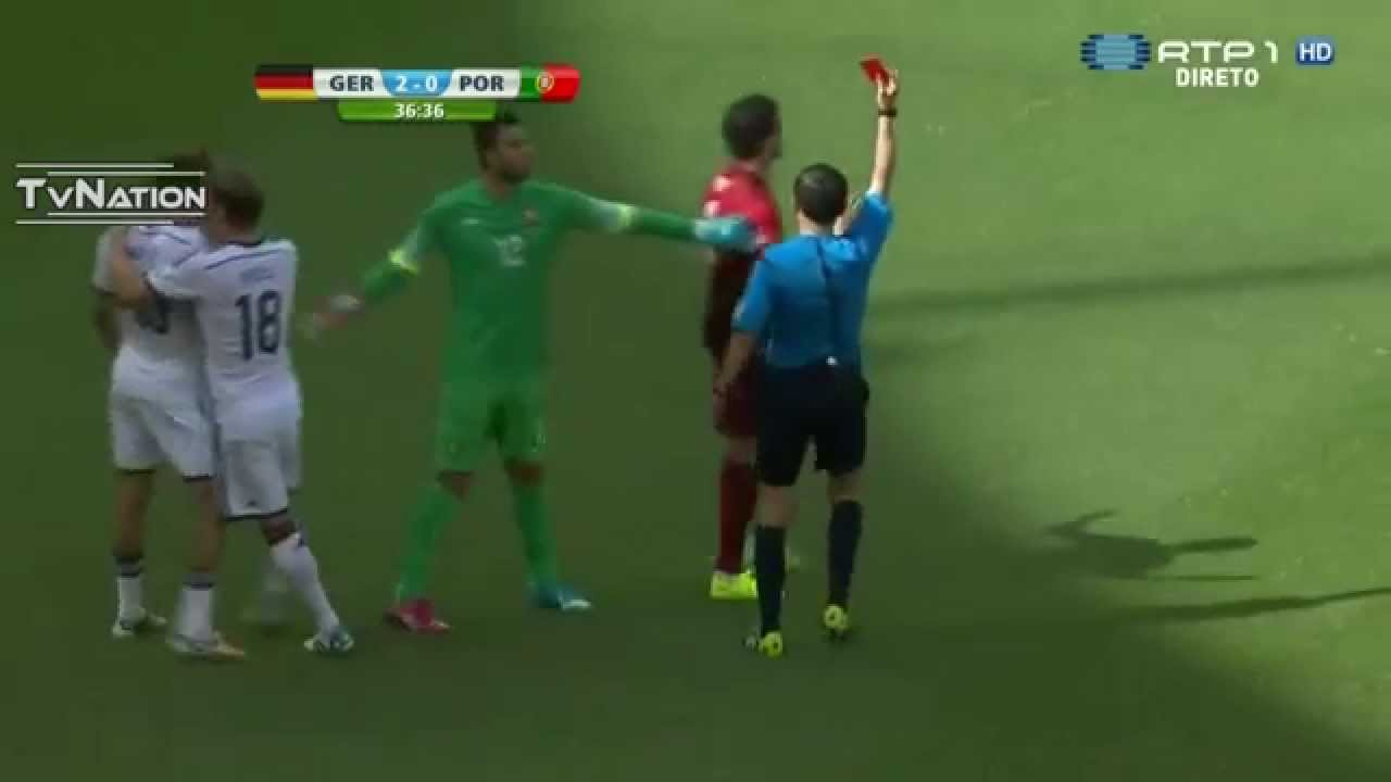 Pepe ( Red Card ) Ridiculous Foul on Thomas Muller Germany vs Portugal  World Cup 2014 - YouTube