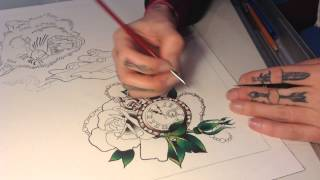 Time Lapse Rose and Pocket Watch Tattoo Flash Painting