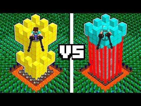 Minecraft PE : NOOB CASTLE VS PRO CASTLE VS 1000 ZOMBIE ARMY!  In Minecraft Noob Vs Pro