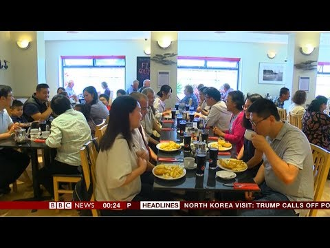 Chinese tourists - fish & chips please (UK) - BBC News - 25th August 2018