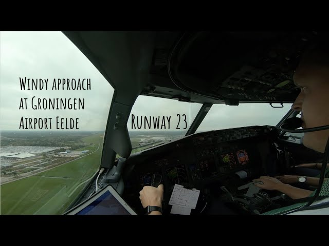 Landing runway 23 Groningen Airport Eelde (GRQ EHGG) as seen from the cockpit of a Boeing 737.