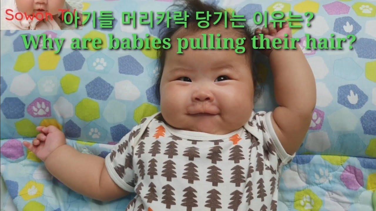 아기들 머리카락 당기는이유? Why are babies pulling their hair? - YouTube