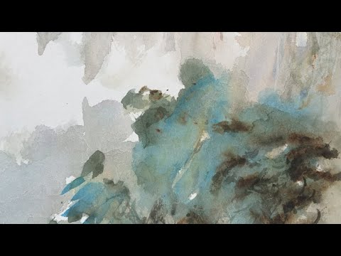 Experimental Landscape Painting With Mulberry Paper