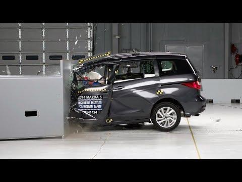 2014 Mazda 5 driver-side small overlap IIHS crash test