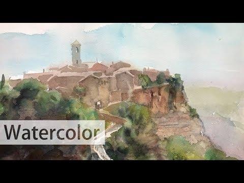 Watercolor landscape painting - a mountain village