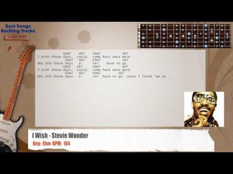I Wish - Stevie Wonder Guitar Backing Track with chords and lyrics