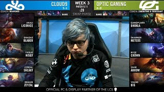 C9 (Nisqy Yasuo) VS OPT (Crown Ryze) Highlights - 2019 NA LCS Summer W3D1