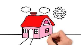 Vẽ Và Tô Màu Ngôi Nhà Đơn Giản - Tranh Tô Màu Cho Bé Mầm Non Và Tiểu Học