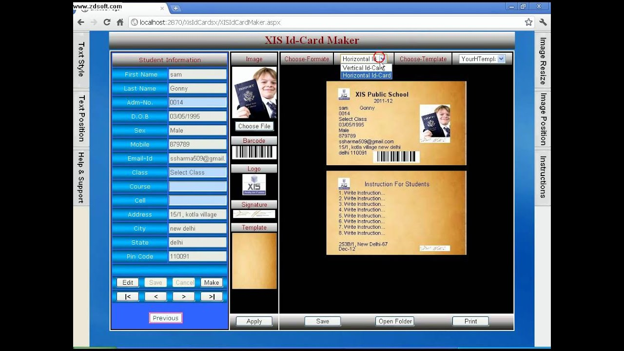 id card software with barcode front back by xis technology