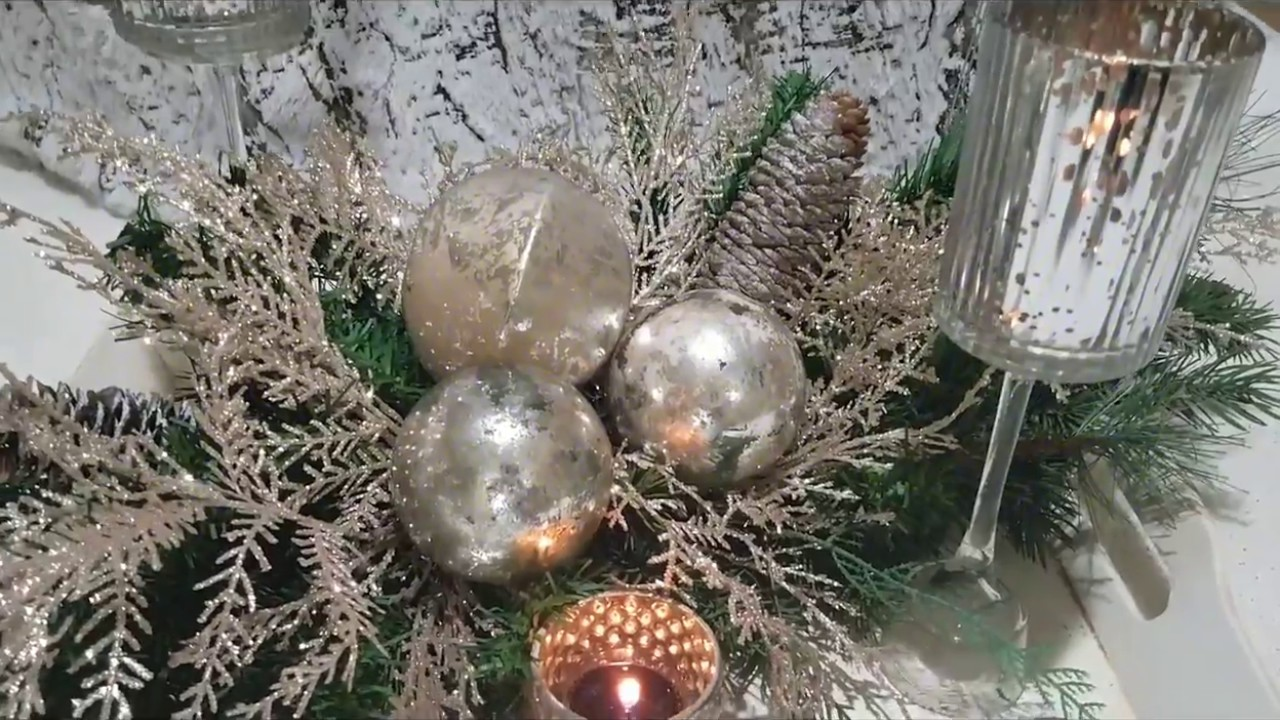 easy elegant christmas centerpiece plus diy dollar tree candle holder - Elegant Christmas