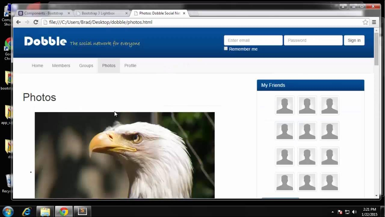 Build A Multi Page Social Network Template Using Bootstrap Part 8