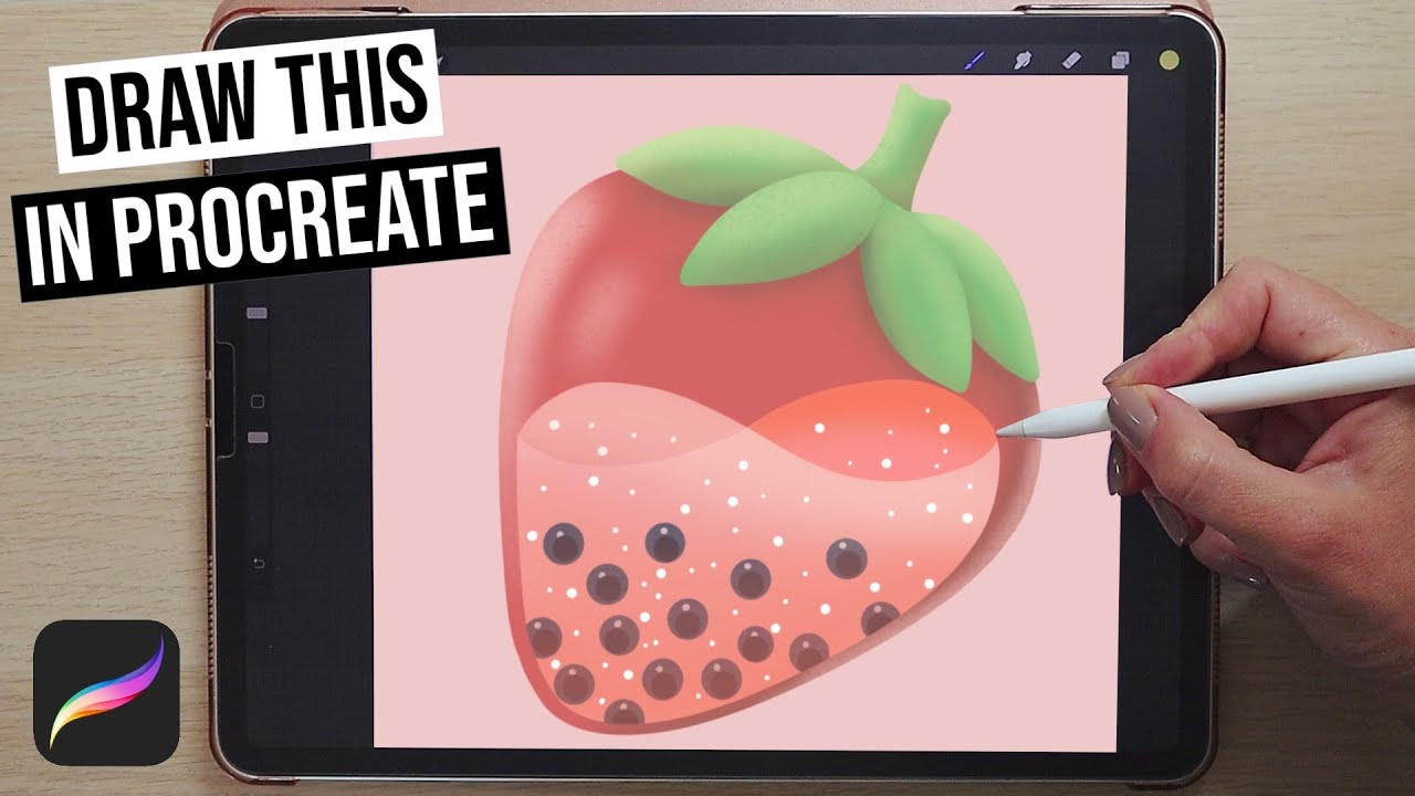 🍓 Strawberry Boba Tea Illustration in Procreate   Step by Step Tutorial For Beginners