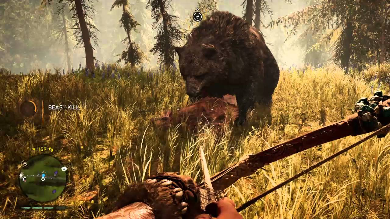 Far Cry Primal Cave Bear Vs Saber Tooth Tiger Youtube