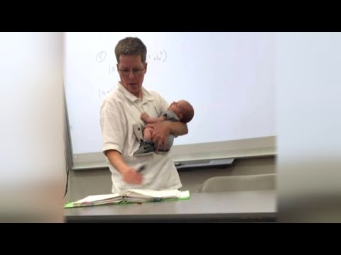 College Professor Holds Student's Newborn Baby While Teaching Class
