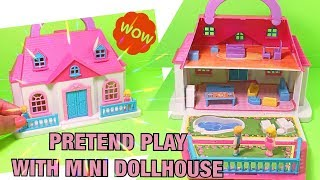 Pretend Play with Mini Dollhouse | Learn common words colors and more!