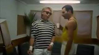 Freddie Mercury and Roger Taylor back stage funny
