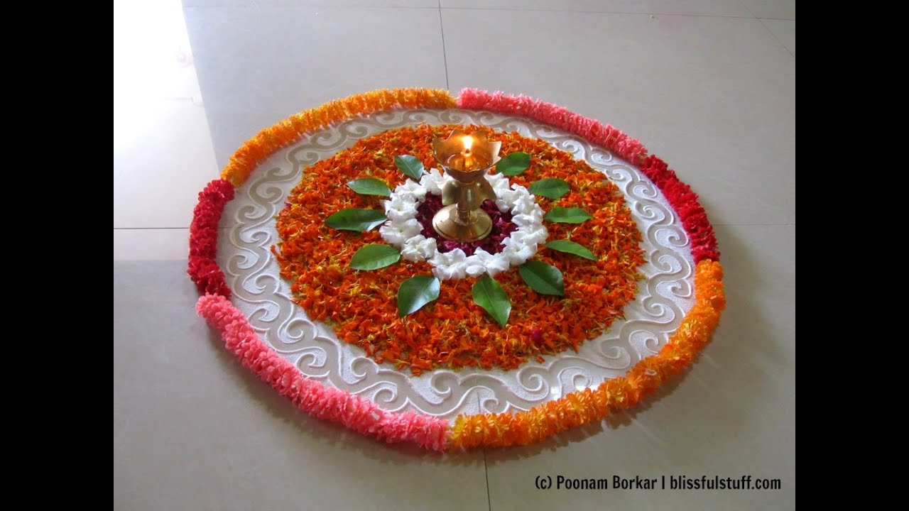 Simple And Easy Flower Rangoli Designs For Home Homemade