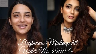 BEGINNERS FULL MAKEUP KIT UNDER RS 3000/- | WITH STEP BY STEP GUIDE TO A LOOK USING THESE PRODUCTS