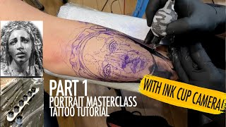PORTRAIT MASTERCLASS TATTOO TUTORIAL (PART 1) (WITH REFERENCE PICTURE & INK CUP CAMERA) screenshot 5