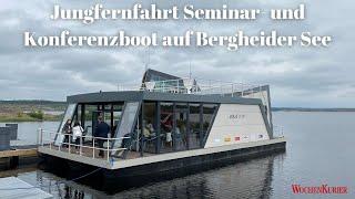 Neue Attraktion neben dem Besucherbergwerk F60 - Konferenzboot auf Bergheider See nimmt Fahrt auf