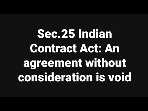 Sec 25 Indian Contract Act An Agreement Without Consideration Is