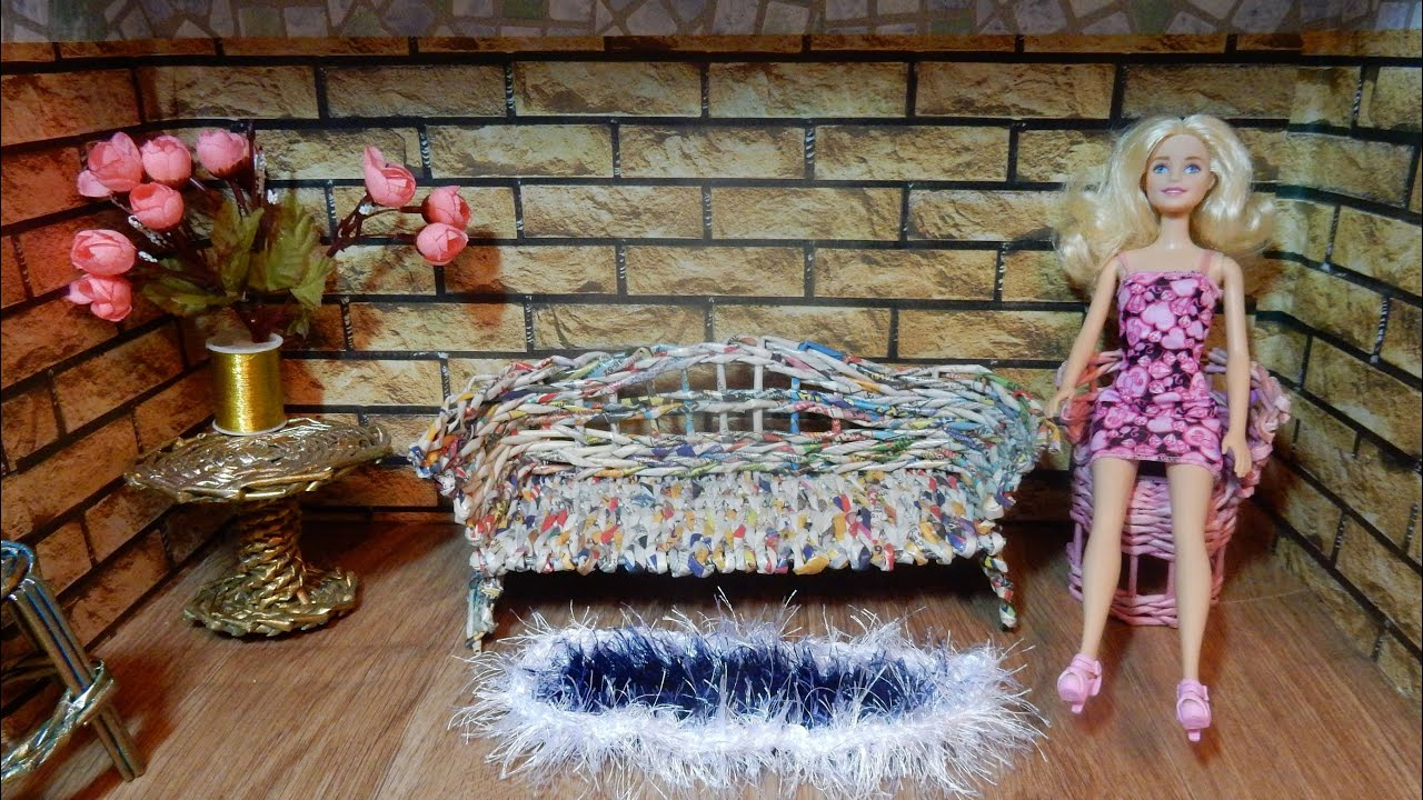make barbie doll furniture. Furniture For Doll Weaving Newspapers DIY How To Make Barbie Sofa Tutorial Handmade