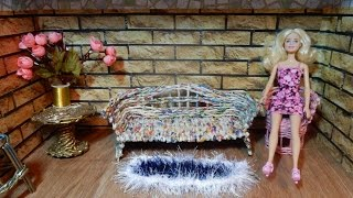 Furniture for doll Weaving newspapers DIY How to Make Barbie Doll Sofa tutorial Handmade