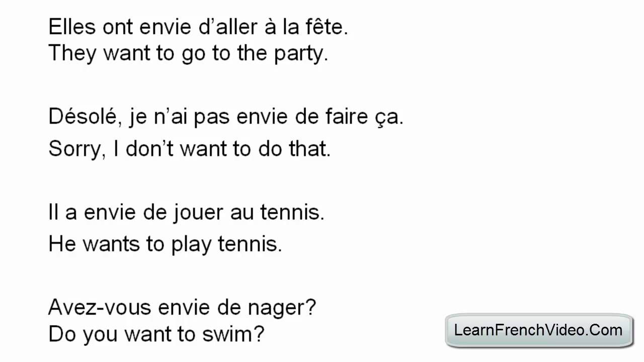 To Want in French (Avoir Envie De) - YouTube