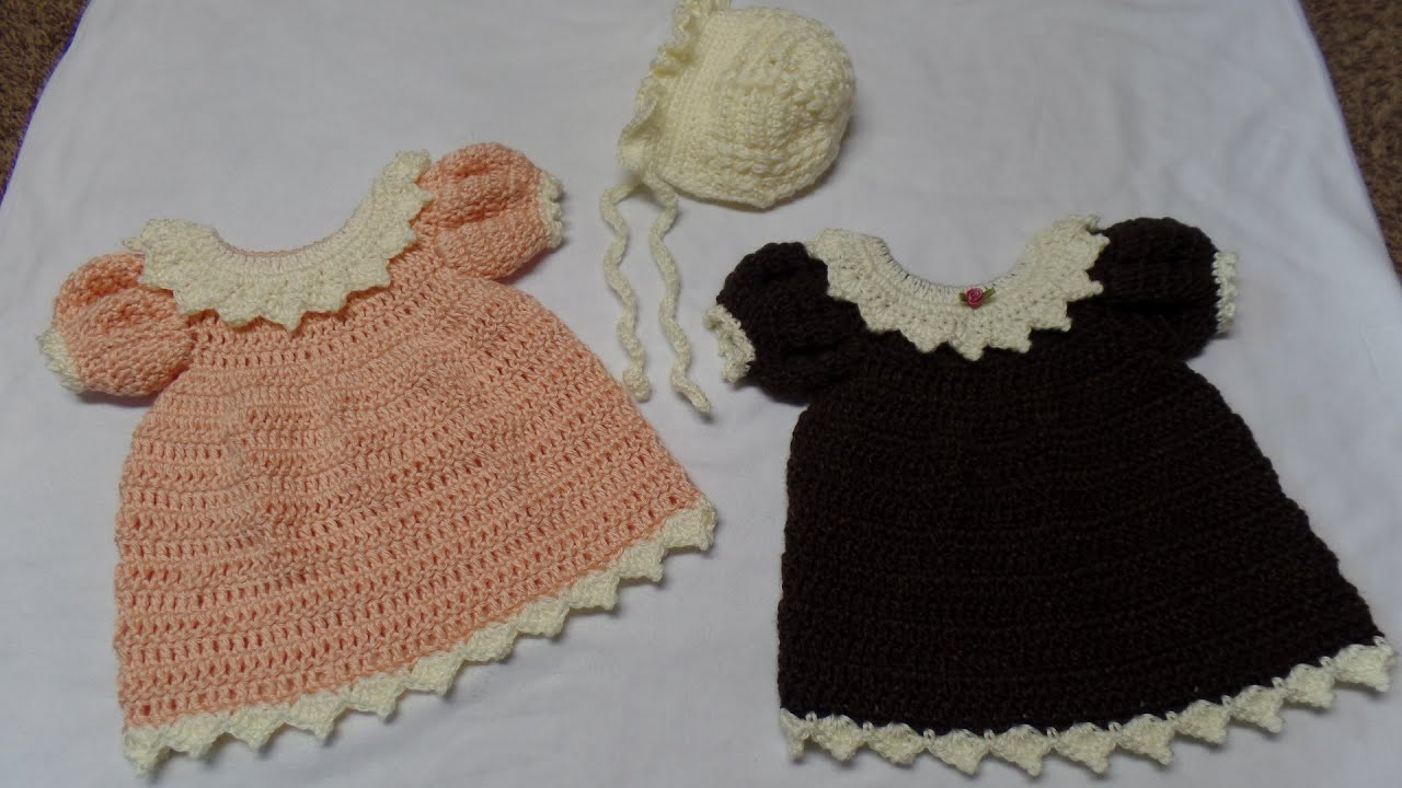 How To Crochet Newborn Dress And Bonnet Part 1 Dress Tutorial 288