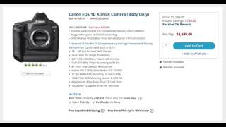 The price of the Canon EOS-1D X DSLR Camera (Body Only) drops again...