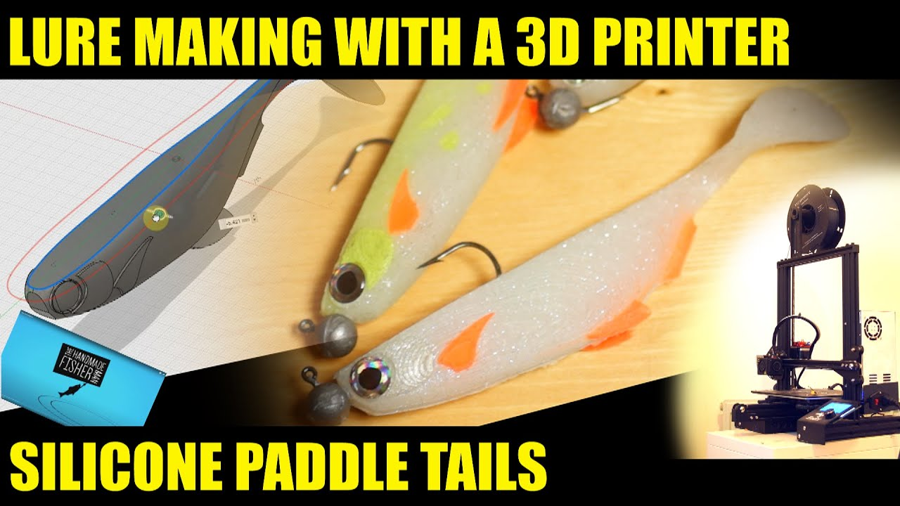 Making lures with a 3d printer, silicone paddle tails
