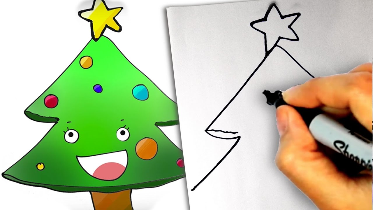 HOW TO DRAW a cute EASY christmas tree - STEP BY STEP XMAS TREE - YouTube