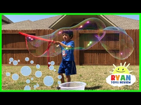 Thumbnail: DIY GIANT BUBBLES for kids! Family Fun playtime with bubble toys Ryan ToysReview