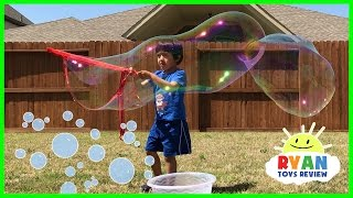 DIY GIANT BUBBLES for kids! Family Fun playtime with bubble toys Ryan ToysReview Video