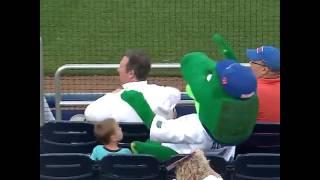 Талисман защитил ребёнка от попадания бейсбольного мяча