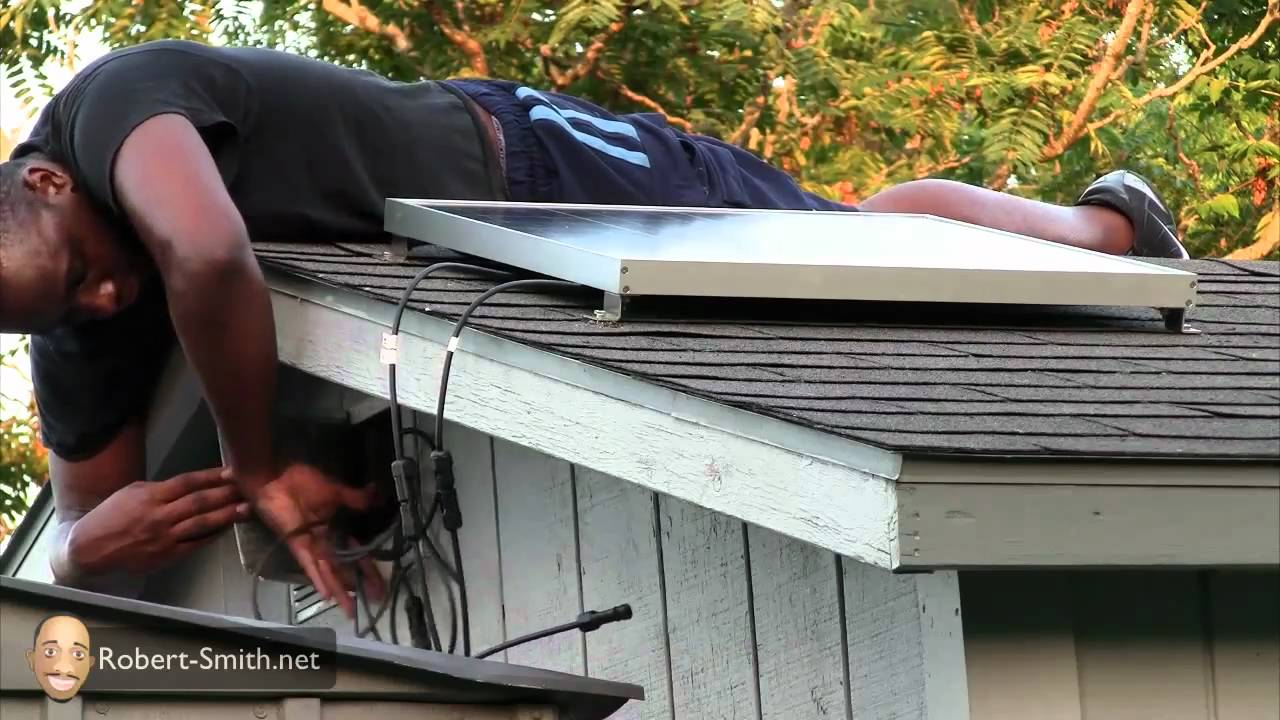 Attaching Ul Solar S Solar Panel On Top Of A Roof Youtube