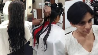 Indian Woman Long Hair To Short Blow Haircut At Salon