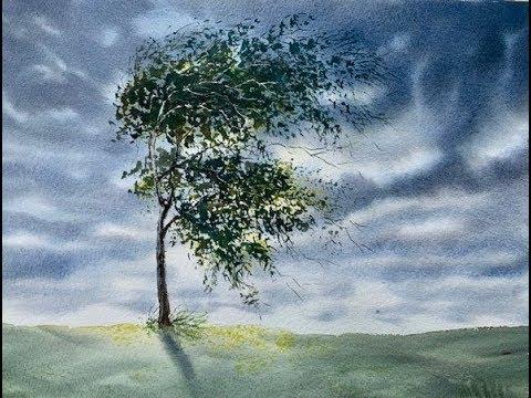Интересное небо.  Дерево на ветру. Акварель.  Windy Day In W/c