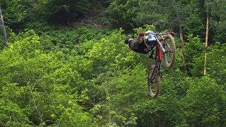 Flying down the Lousã Bike Park.