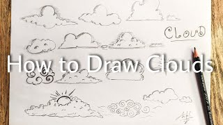 how to draw a clouds step by step تمرين رسم سحاب  بالخطوات