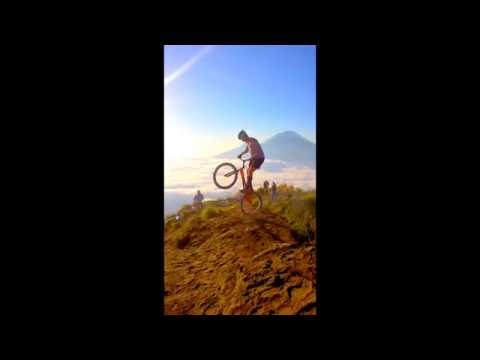 Crazy bike stunts on top of a volcano!